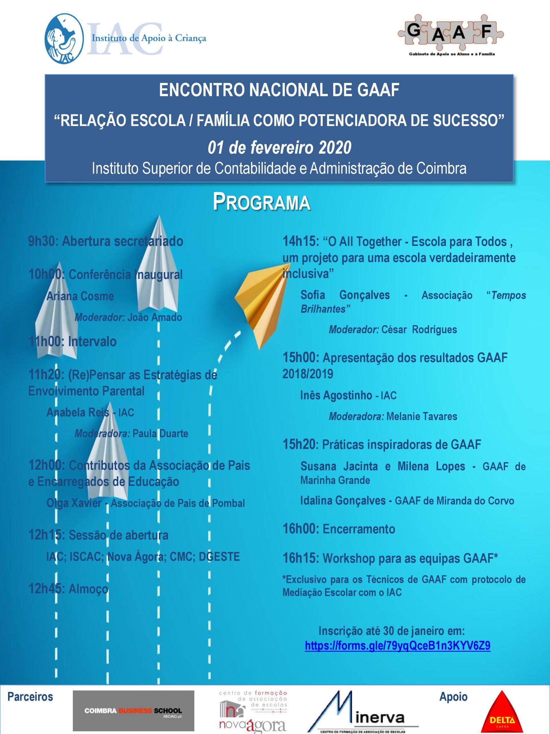 """Encontro Nacional de GAAF """"Relação Escola - Família como Potenciadora de Sucesso"""""""